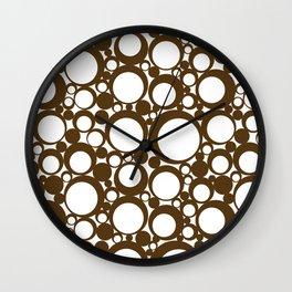 Brown Geometric Abstract Modern Circle Art Wall Clock