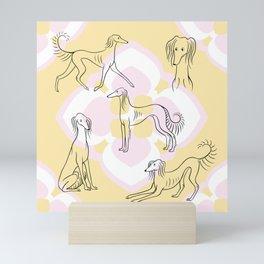 Saluki Pattern Mini Art Print