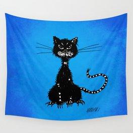 Ragged Evil Black Cat (blue) Wall Tapestry