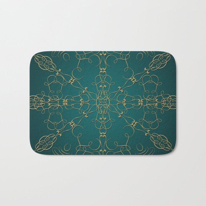 Gold Teal Mandala Bath Mat