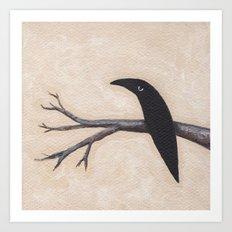 Crow On Branch  Art Print