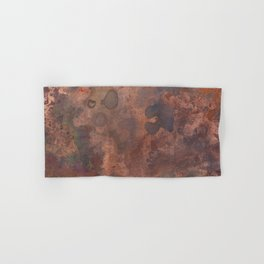 Tarnished, Stained and Scratched Copper Metal Texture Industrial Art Hand & Bath Towel