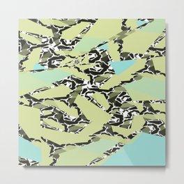 Aqua, Green, Black, and White Geometric Pieces Metal Print