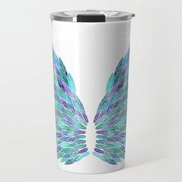 Turquoise Angel Wings Travel Mug