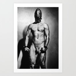 Nude cuffed Slave Boy Art Print