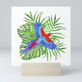 tropical bouquet with macaw parrot Mini Art Print