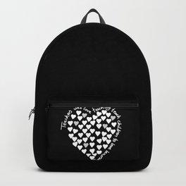 Hearts Heart Teacher White on Black Backpack