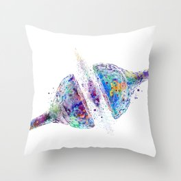 Synapse Receptor Art Colorful Blue Purple Gift Brain Nerve Cell Science Art Neuroscience Lovers Art Throw Pillow