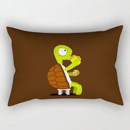 Turtle drinking tea with cookies. Rectangular Pillow