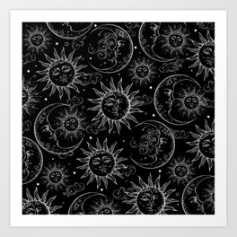 Black Magic Celestial Sun Moon Stars Art Print