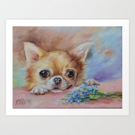 Chihuahua dog portrait with blue flowers Cute pet painting Puppy and nots Art Print