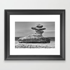 The Cairn in Black and White Framed Art Print
