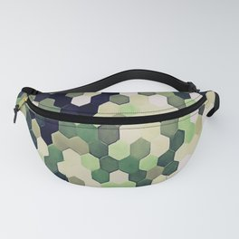 Honeycomb Pattern In Peppermint Green and Black Fanny Pack