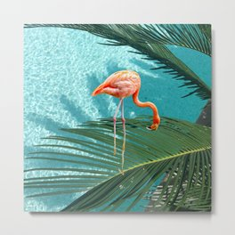 Abstract Flamingo and Palm leaf Metal Print