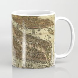 Vintage Pictorial Map of NYC and Brooklyn (1892) Coffee Mug