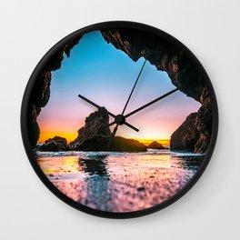 Ocean Cave At Sunset Wall Clock