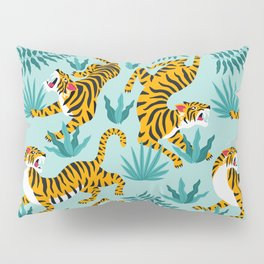 Asian tigers and tropic plants on background. Pillow Sham