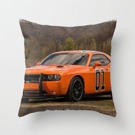 Hugger Orange Challenger RT Dukes of Hazard Throw Pillow