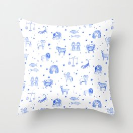 Blue Zodiac Throw Pillow