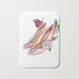 Shoes with flowers and butterfly Bath Mat