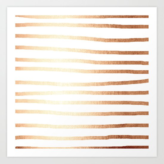 Simply Drawn Stripes Deep Bronze Amber Art Print