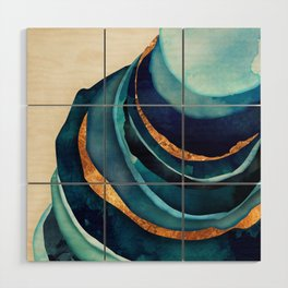 Abstract Blue with Gold Wood Wall Art