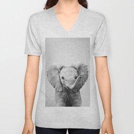 Baby Elephant - Black & White Unisex V-Neck