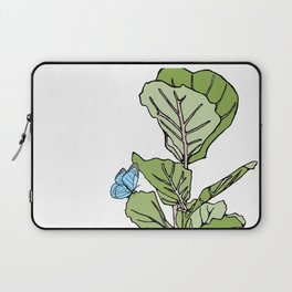 Lined Fig Tree and Blue Butterfly Laptop Sleeve