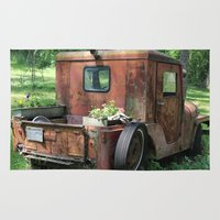 jeep Area & Throw Rugs featuring Red Jeep with Flowers by Julia Leffelman
