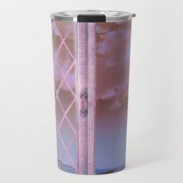 Lavender Fields in Window Shabby Chic original art Travel Mug