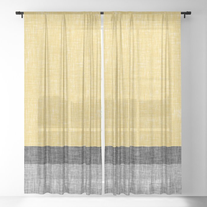 Yellow Grey and Black Section Stripe and Graphic Burlap ...