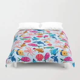 Cartoon Marine  Pattern for Childish Colorful Sea               Duvet Cover