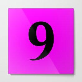 9 (BLACK & FUCHSIA NUMBERS) Metal Print