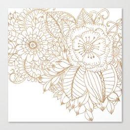 Elegant white faux gold glitter modern floral Canvas Print