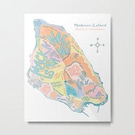 Mackinac Island Map : pastels Metal Print