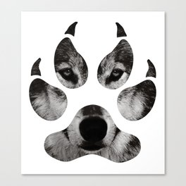 Wolf's Paw Black and White Canvas Print