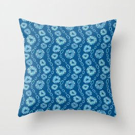 Wavy Toothy Flowers > Blue Throw Pillow