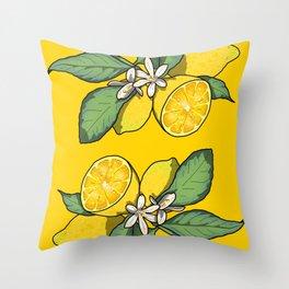 Botanical Lemon Print Throw Pillow