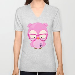 Valentine's Day Owl, Pink Owl, Glasses, Hearts Unisex V-Neck
