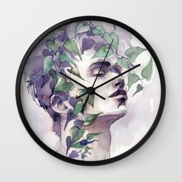 A man with ivy, watercolor portrait Wall Clock