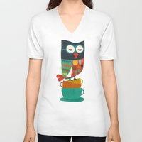 morning V-neck T-shirts featuring Morning Owl by Picomodi