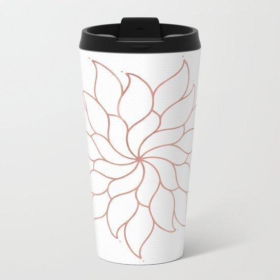 Mandala Flowers Rose Gold on White Metal Travel Mug