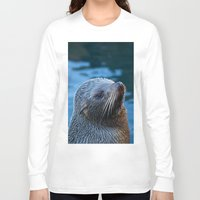 seal Long Sleeve T-shirts featuring Fur Seal by Sean Foreman