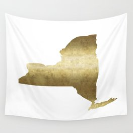 new york gold foil state map print niece ny state Wall Tapestry
