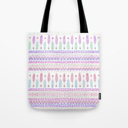 Colorful Boho Tribal Aztec Feather Arrows Pattern Tote Bag