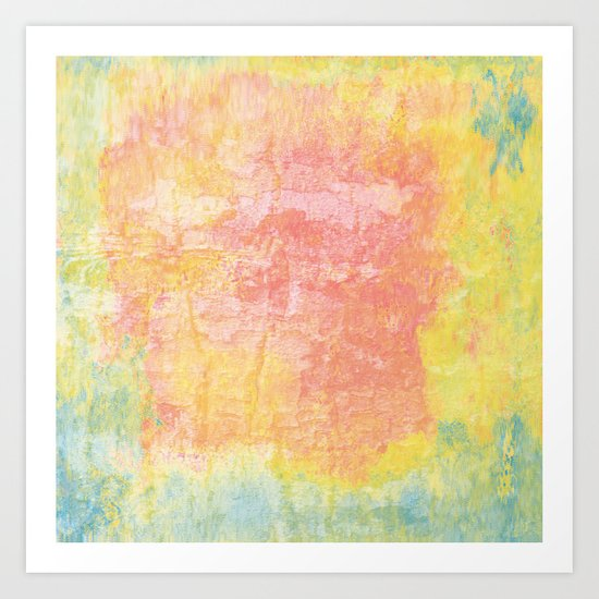 Pink, Yellow and Blue Texture Art Print