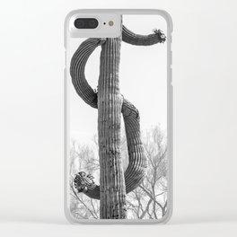 Dollar Saguaro, Black and White Desert Cactus Art by Murray Bolesta Clear iPhone Case
