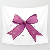 bow Wall Tapestries featuring Magenta Bow by Oh Melody Illustration