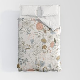 Elegant abstract coral pastel blue modern rustic floral Comforters