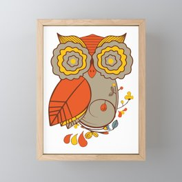 Abstract Colorful Floral Owl, Cute Owl Sticker, Terracotta Colors, Orange Yellow Gray And  Brown Framed Mini Art Print